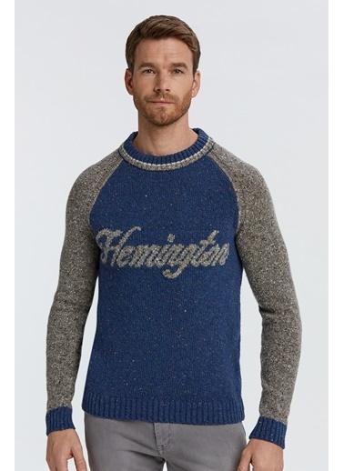 Hemington Logolu Koyu Mavi Yün Kazak Mavi